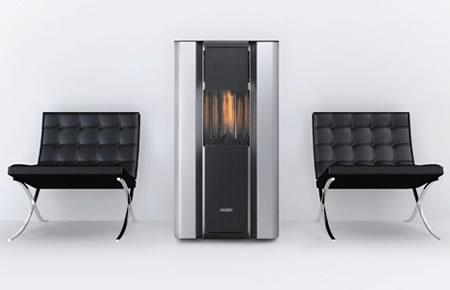 Fiammella decorative heater with vertical flame