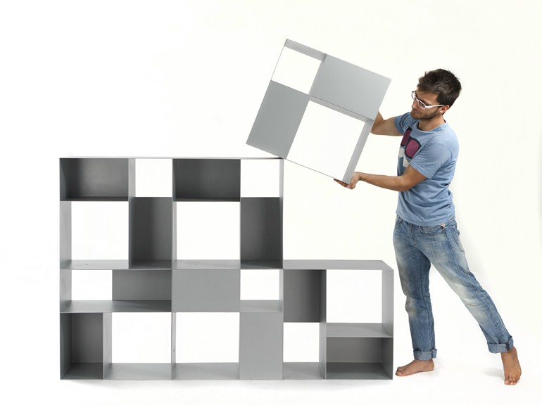 Modular metal bookcase