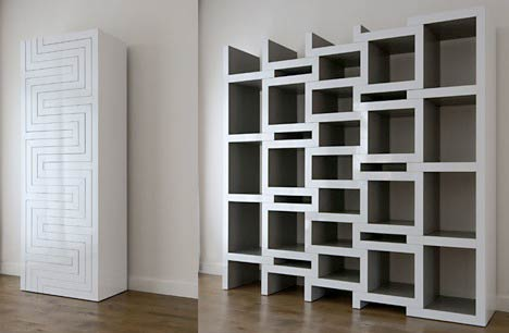 Modular Bookcases With Geometric And Sculptural Designs