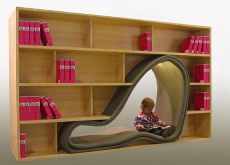 A bookcase with an integrated reading corner