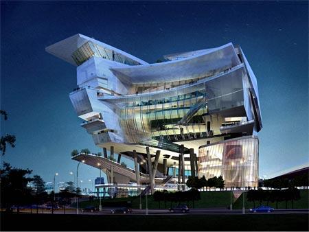 A striking design for the Singapore Civic & Culture cenre, shaped like a ship