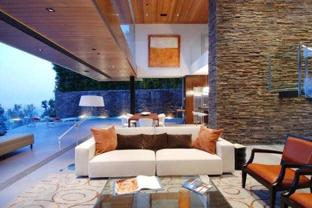 Great The Living Room Area Is Very Well Delimited By The Stone Walls And The Use  Of Stone Can Be Also Seen In The Way He Arranged The Bathroom. Images