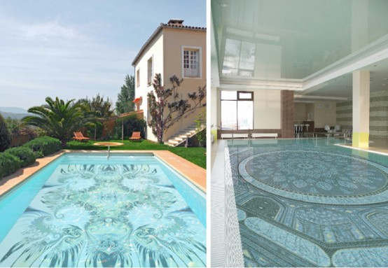 Swimming Pool Design with Mosaic Glass Tiles by Glassdecor