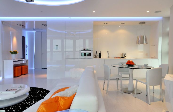 Kitchen laquared design with LEd lights