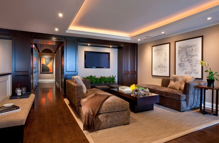 Living room design with led lighting system