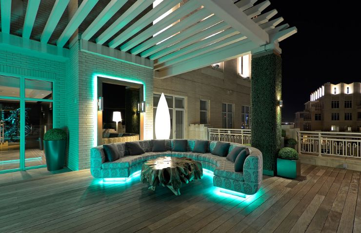 Outdoor furniture with LED lights