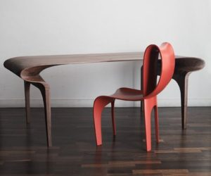 The Contour Table and Chair by Bodo Sperlein