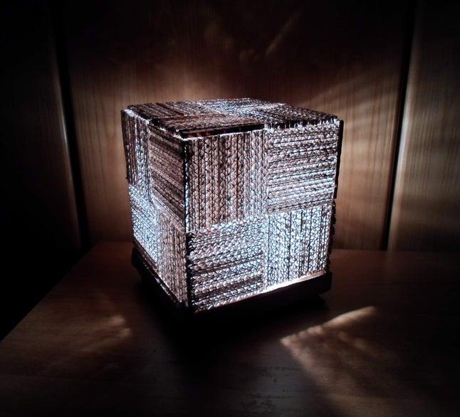 recycling light Cardboard Cube Lamp