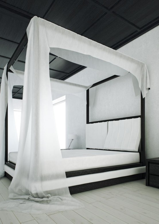 & The sumptuous and elegant Wind canopy bed from Mazzali