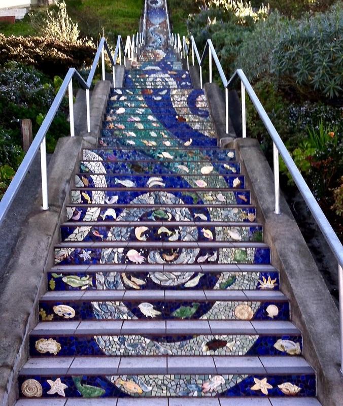 stair design mosaic steps in san francisco