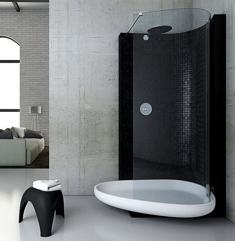 Black showers by glass idromassaggio - Bagno senza finestra ...