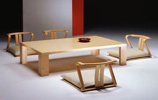 Japanese dining room furniture from hara design for Traditional japanese furniture