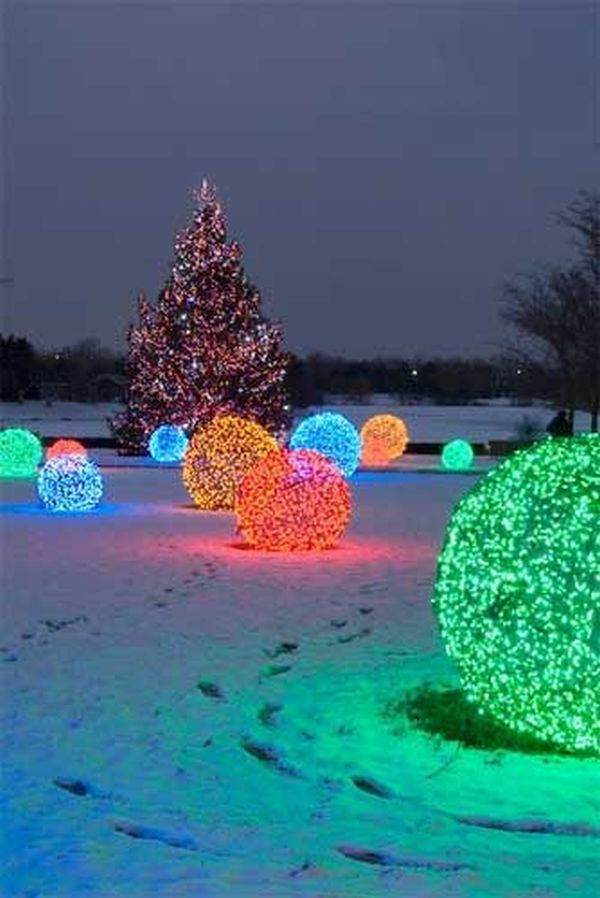 Christmas Light Balls Outdoors