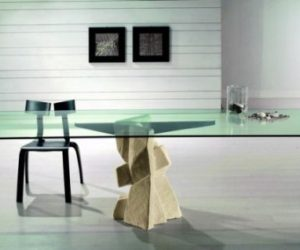 Dining Table with Stone Base by Vicenza Shapes