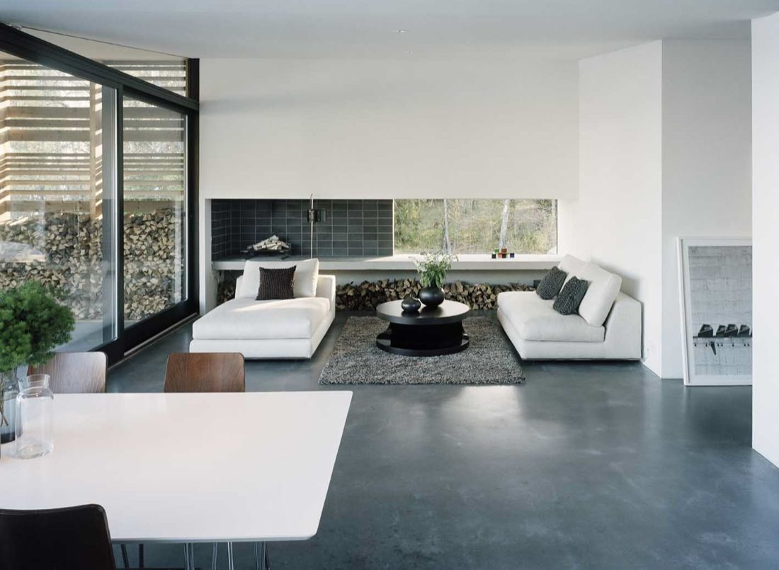 H-House by Widjedal Racki Bergerhoff polished concrete