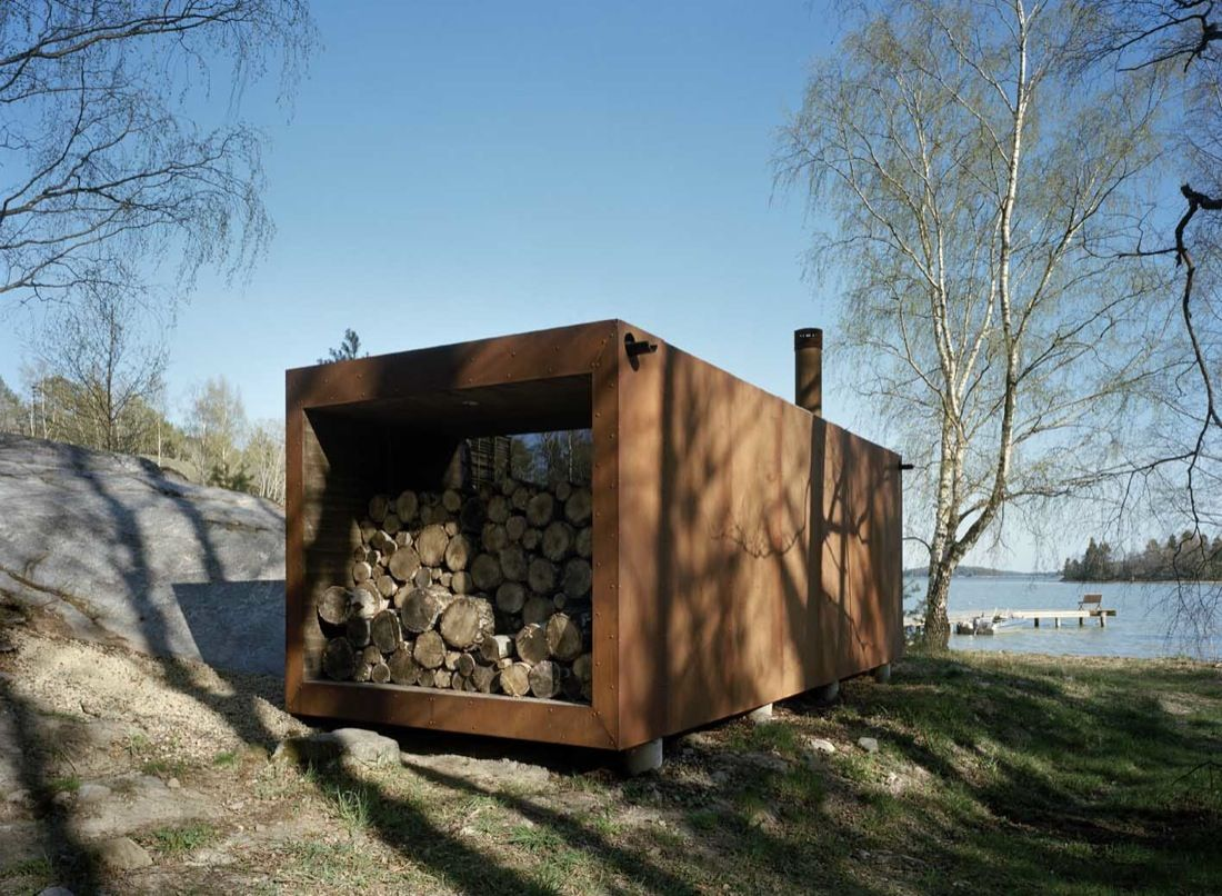 H-House by Widjedal Racki Bergerhoff wood storage