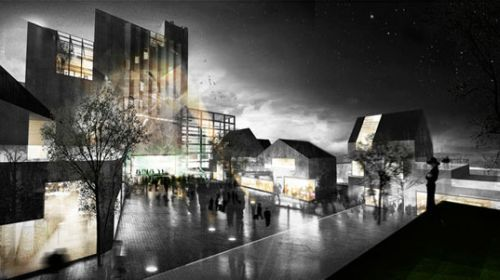 nordic town get green city center complete with modern castle