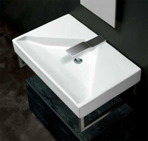 bathroom sink with sensor faucets
