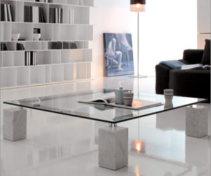 Rectangular coffee table with marble feet