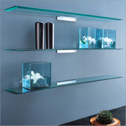 Pretty looking glass wall shelves