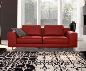 Calligaris red sofa collection on fabric or leather