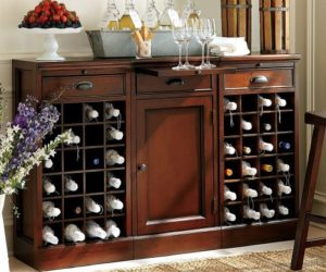 Modular Open Wine Buffet Finished in Mahogany