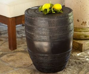 Rain Drum Inspired Metal Drum Accent Table
