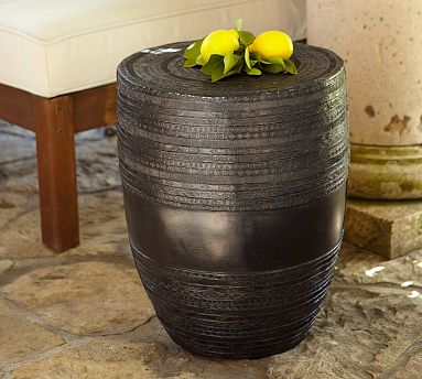 Superior Rain Drum Inspired Metal Drum Accent Table Great Ideas