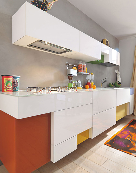 Lago admires the brighter color options for the modern kitchen for Kitchen ideas 2010