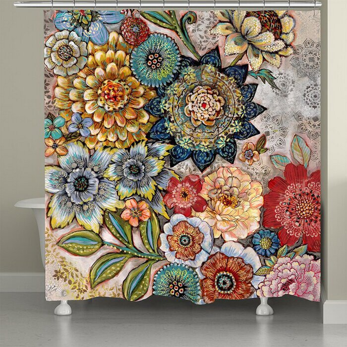 shower curtain A Bright and Floral Shower Curtain