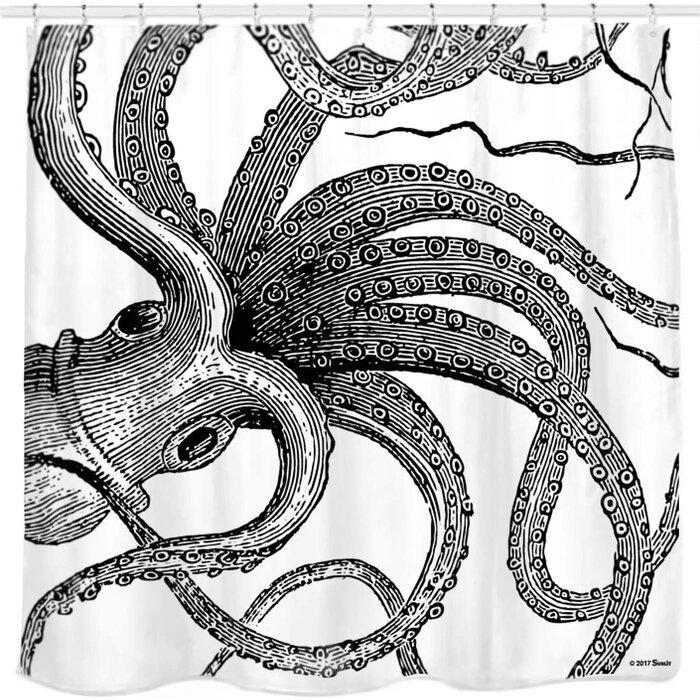 shower curtain An Abstract Octopus Shower Curtain