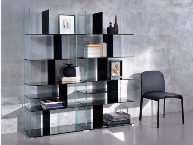 Double side glass bookcase