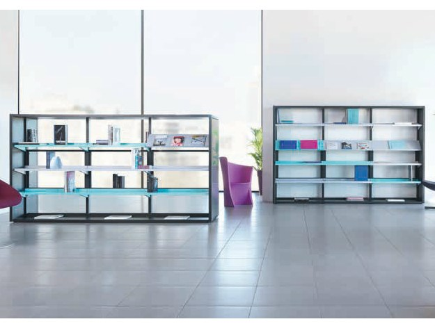 Double side sectional glass bookcase