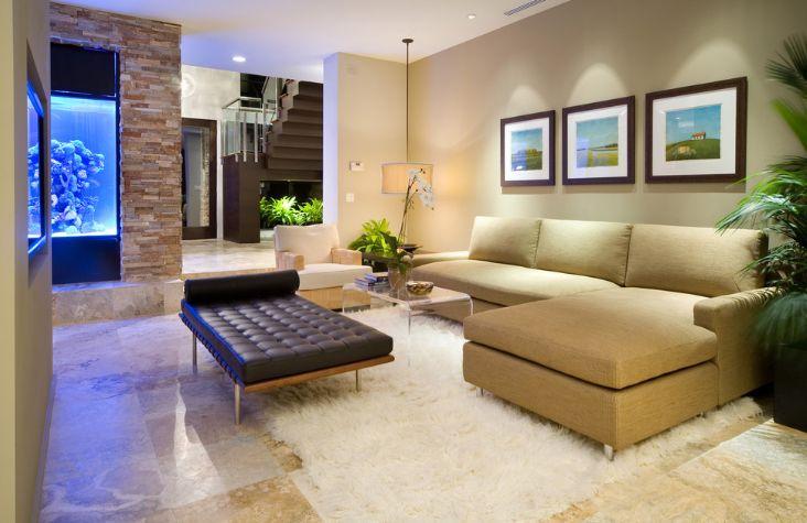 Modern living room with aquarium
