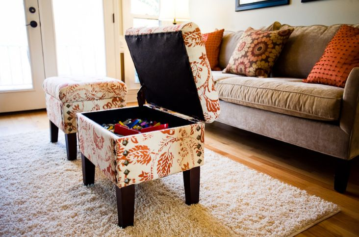 Ottoman coffee table used like storage