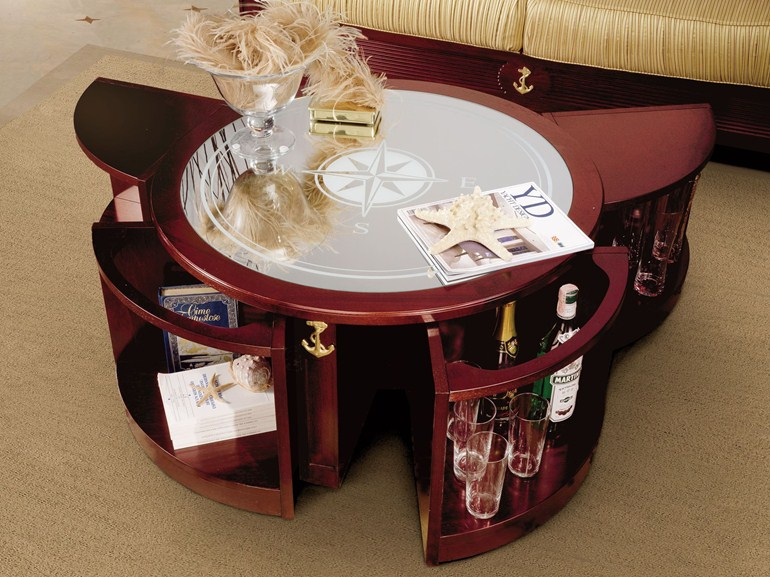 Ship wheel coffee table with storage