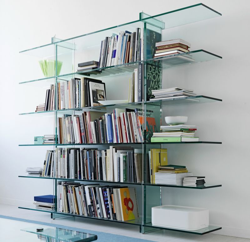 Teso float glass bookcase