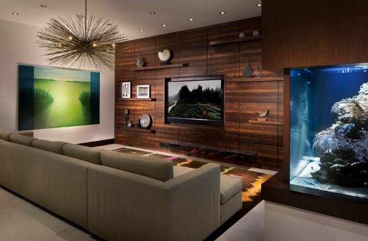 Wood paneling wall for living room and aquarium