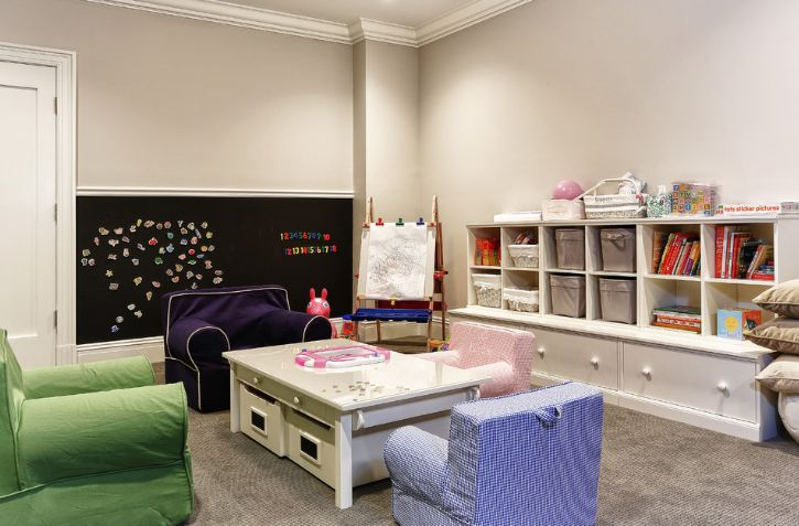kids playroom design with a white coffee table
