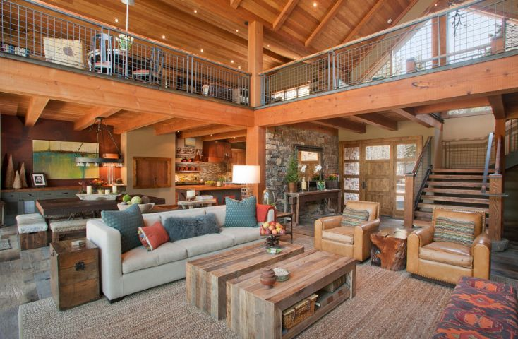 rustic living room with a cool coffee table