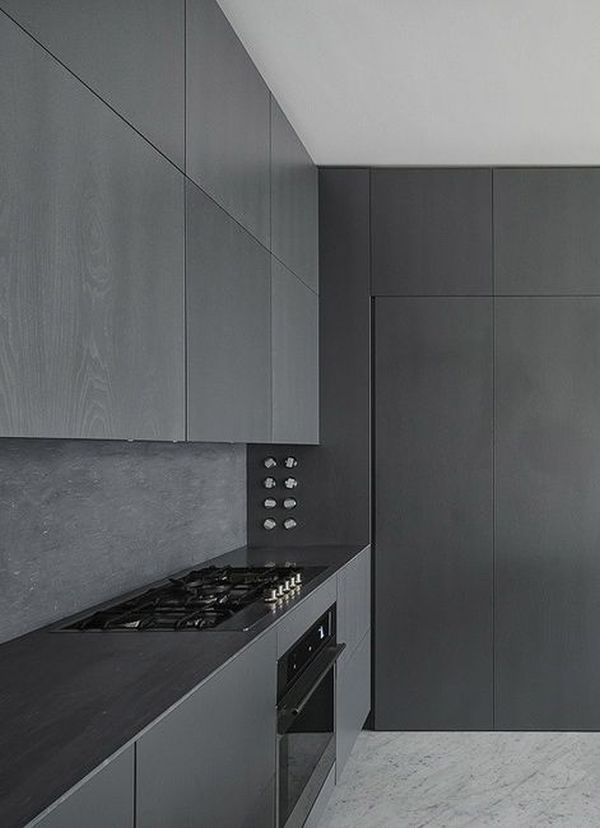 Minimalist kitchen design ideas for Cuisine noir mat