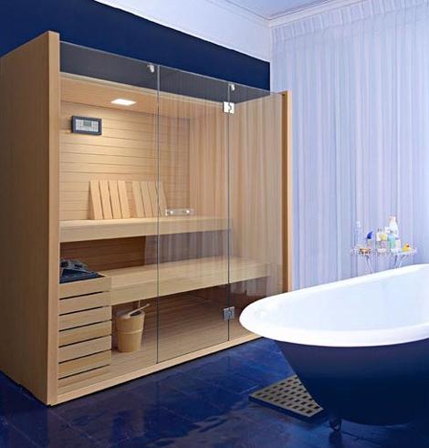 Effegibi finnish sauna design hates being utilitarian for Bathroom with sauna plans