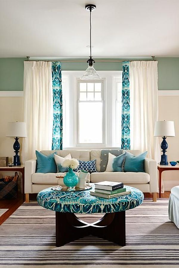 mix color and pattern - Blue Color Living Room Designs