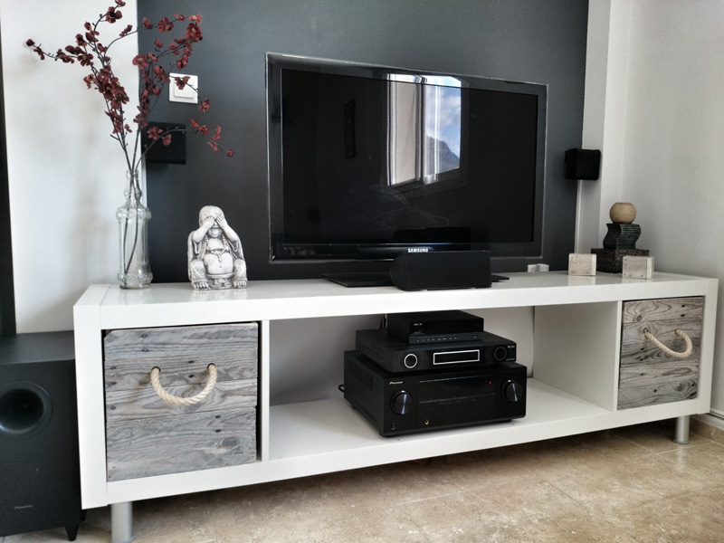 A TV stand with storage.