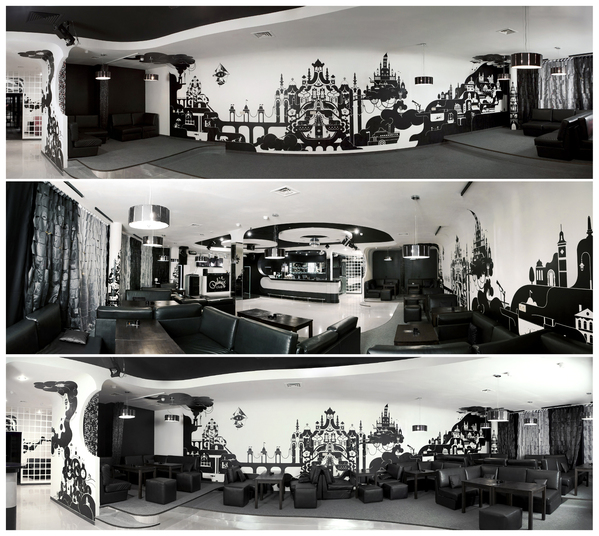 Amazing Black And White D*Club&Cafe Design