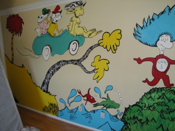 Dr seuss nursery theme ideas for Dr seuss wall mural decals