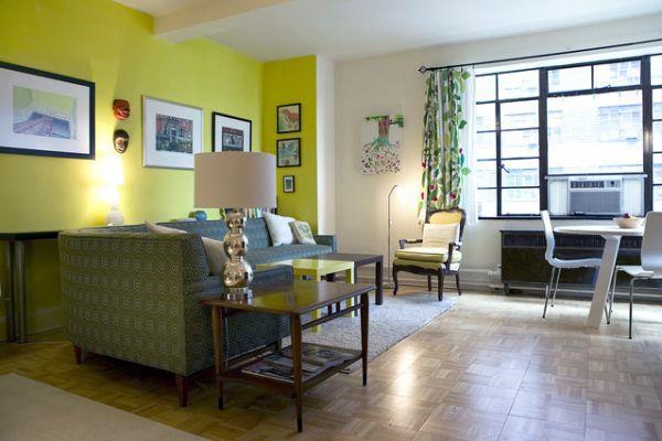 Green theme ny apartment interior design for Interior house design green