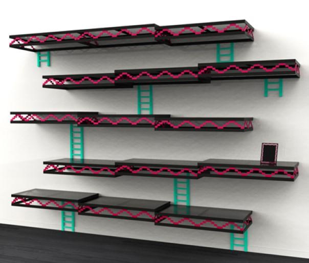 tech furniture Donkey Kong Shelves