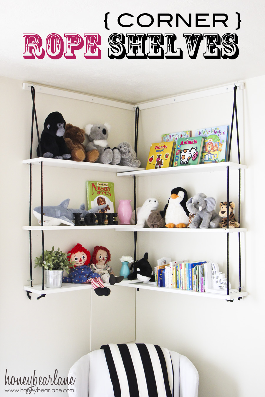 View In Gallery. These Corner Rope Shelves Are A ...
