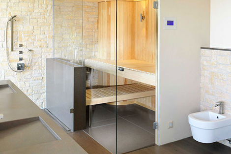 Built in sauna in your home by kung sauna for Bathroom with sauna plans